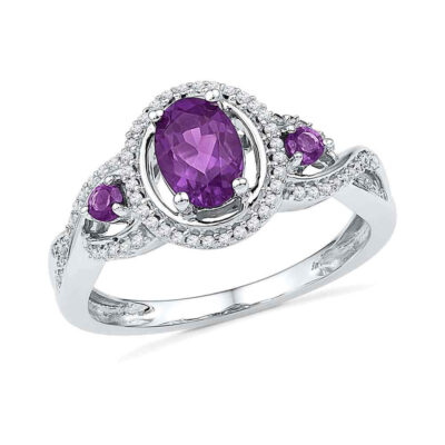 10kt White Gold Womens Oval Lab-Created Amethyst Solitaire Diamond Ring 1 Cttw