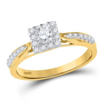 10k Yellow Gold Round Diamond Square Halo Bridal Wedding Engagement Ring 3/8 Cttw