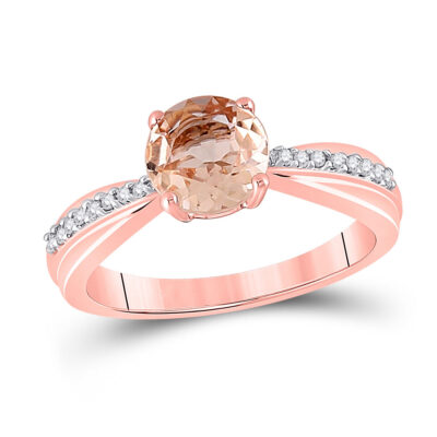 10kt Rose Gold Womens Round Morganite Diamond Solitaire Ring 7/8 Cttw