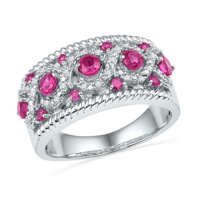 10kt White Gold Womens Round Lab-Created Pink Sapphire Diamond Roped Band 1 Cttw