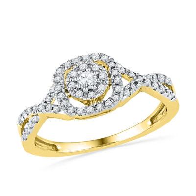 10k Yellow Gold Round Diamond Halo Bridal Wedding Engagement Ring 1/3 Cttw