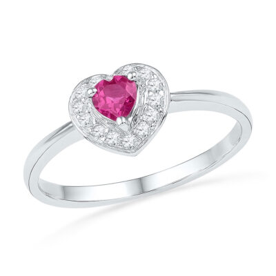 10kt White Gold Womens Round Lab-Created Pink Sapphire Heart Ring 1/10 Cttw