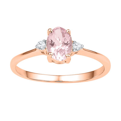 10kt Rose Gold Womens Oval Lab-Created Morganite Solitaire Diamond Ring 5/8 Cttw