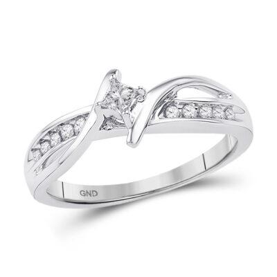 10kt White Gold Princess Diamond Solitaire Bridal Wedding Engagement Ring 1/5 Cttw