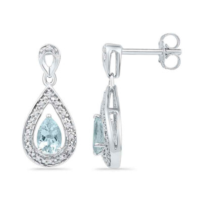 10k White Gold Diamond & Lab-Created Aquamarine Teardrop Dangle Earrings 5/8 Cttw