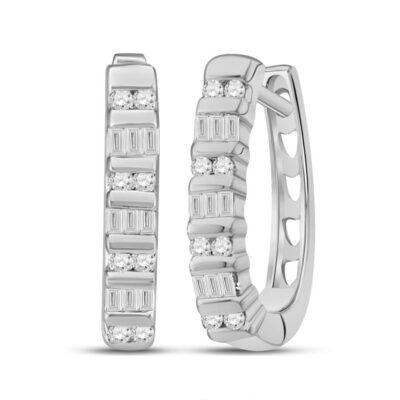 10kt White Gold Womens Baguette Diamond Hoop Earrings 1/4 Cttw