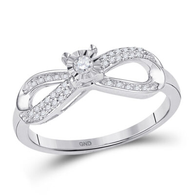 10kt White Gold Womens Round Diamond Infinity Promise Ring 1/5 Cttw