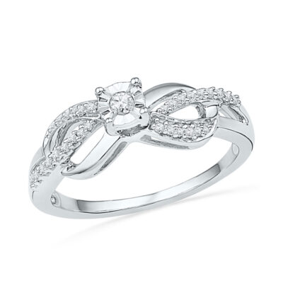 10kt White Gold Womens Round Diamond Infinity Promise Ring 1/6 Cttw
