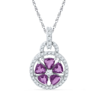 10kt White Gold Womens Lab-Created Amethyst Flower Circle Pendant 1-1/2 Cttw
