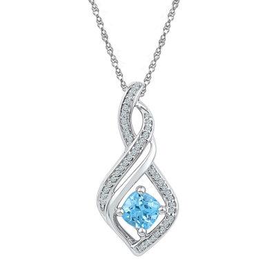 10kt White Gold Womens Round Lab-Created Blue Topaz Diamond Pendant 3/4 Cttw
