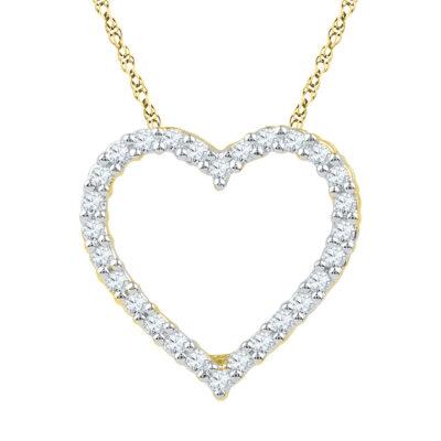 10kt Yellow Gold Womens Round Diamond Heart Pendant 1/4 Cttw