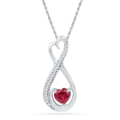 10kt White Gold Womens Heart Lab-Created Ruby Solitaire Diamond Infinity Pendant 5/8 Cttw