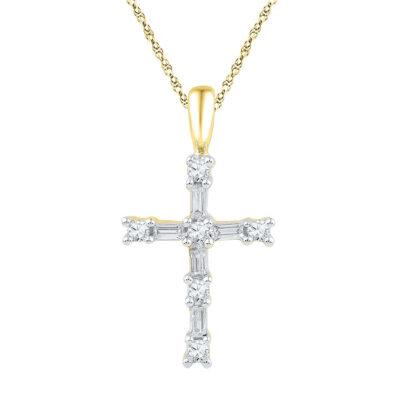 10kt Yellow Gold Womens Round Baguette Diamond Cross Pendant 1/4 Cttw