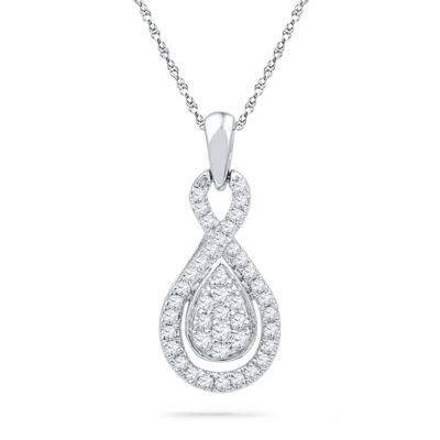 10kt White Gold Womens Round Diamond Teardrop Cluster Pendant 1/3 Cttw
