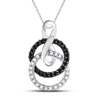 10kt White Gold Womens Round Black Color Enhanced Diamond Double Circle Pendant 1/5 Cttw