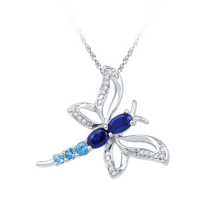 10kt White Gold Womens Oval Lab-Created Blue Sapphire Butterfly Bug Pendant 7/8 Cttw