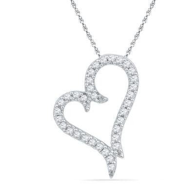 10kt White Gold Womens Round Diamond Heart Pendant 1/5 Cttw