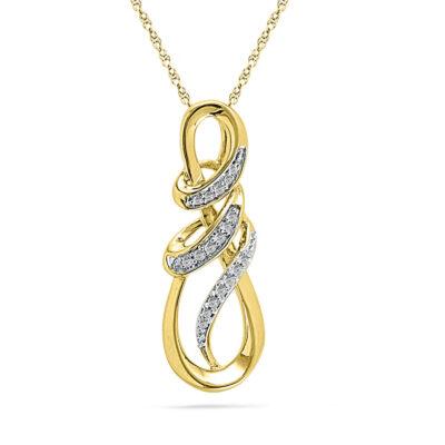 10kt Yellow Gold Womens Round Diamond Infinity Anniversary Love Pendant 1/10 Cttw