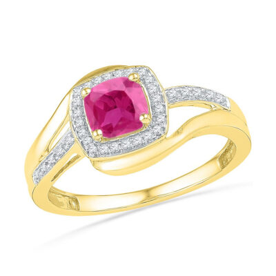 10kt Yellow Gold Womens Princess Lab-Created Pink Sapphire Solitaire Ring 1 Cttw