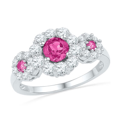 Sterling Silver Womens Round Lab-Created Pink Sapphire 3-stone Ring 1-3/4 Cttw