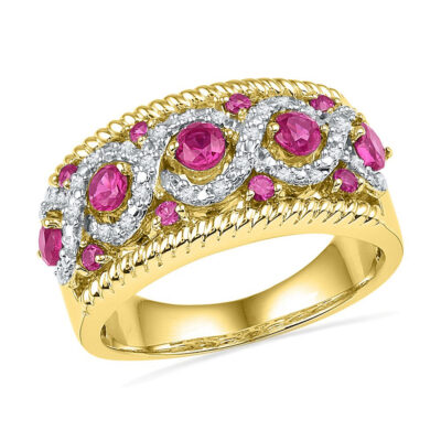 10kt Yellow Gold Womens Round Lab-Created Pink Sapphire Diamond Roped Band 1/10 Cttw