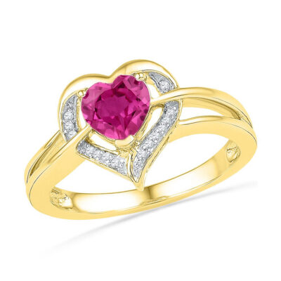10kt Yellow Gold Womens Round Lab-Created Pink Sapphire Heart Ring 1 Cttw