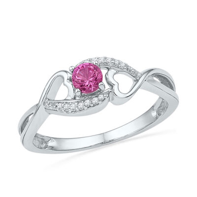 Sterling Silver Womens Round Lab-Created Pink Sapphire Solitaire Ring 1/6 Cttw