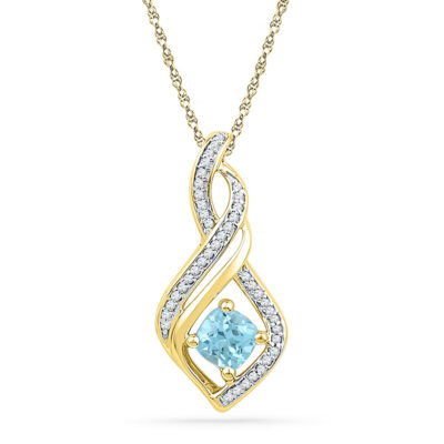 10kt Yellow Gold Womens Round Lab-Created Blue Topaz Diamond Pendant 3/4 Cttw