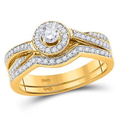 10k Yellow Gold Round Diamond Bridal Wedding Ring Band Set 1/2 Cttw