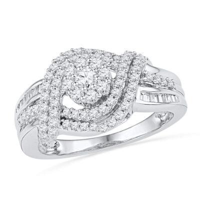 10kt White Gold Round Diamond Cluster Bridal Wedding Engagement Ring 3/4 Cttw