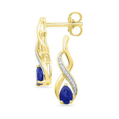 10kt Yellow Gold Womens Pear Lab-Created Blue Sapphire Diamond Earrings 1 Cttw