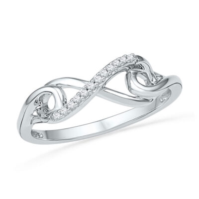 10kt White Gold Womens Round Diamond Infinity Knot Ring 1/20 Cttw