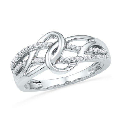 10kt White Gold Womens Round Diamond Infinity Loop Knot Lasso Ring 1/6 Cttw