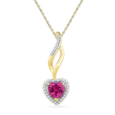 10kt Yellow Gold Womens Round Lab-Created Pink Sapphire Solitaire Pendant 1 Cttw