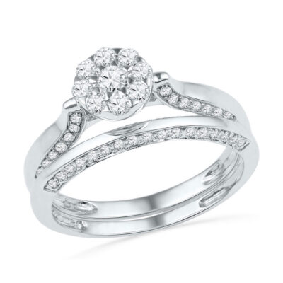 10k White Gold Round Diamond Cluster Bridal Wedding Ring Band Set 5/8 Cttw