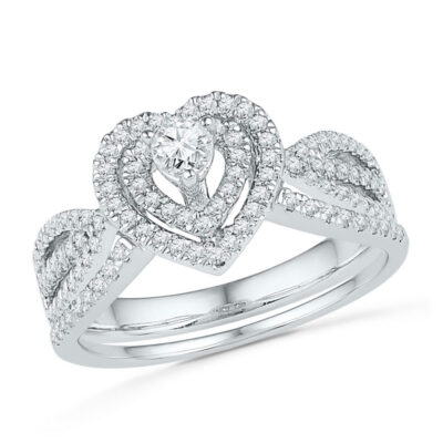 10k White Gold Round Diamond Heart Bridal Wedding Ring Band Set 5/8 Cttw