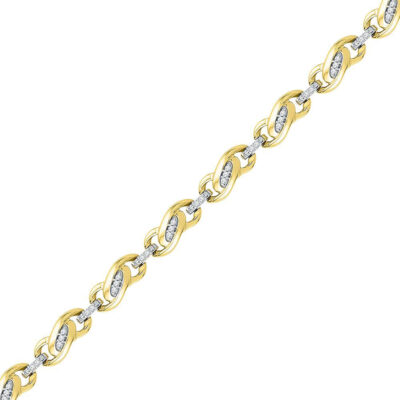 10kt Yellow Gold Womens Round Diamond Fashion Link Bracelet 1/4 Cttw
