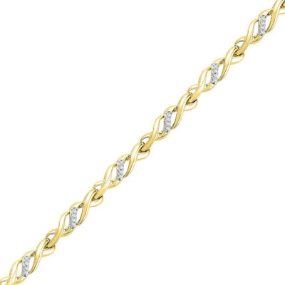 10kt Yellow Gold Womens Round Diamond Infinity Bracelet 1/6 Cttw