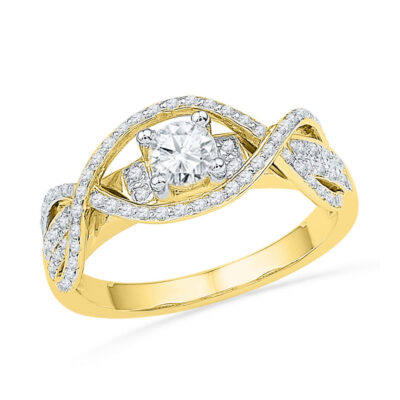 14k Yellow Gold Round Diamond Woven Bridal Wedding Engagment Anniversary Ring 1/2 Cttw
