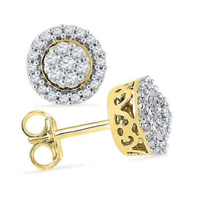 10kt Yellow Gold Womens Round Diamond Flower Cluster Earrings 1/4 Cttw