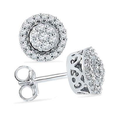 10kt White Gold Womens Round Diamond Flower Cluster Earrings 1/4 Cttw