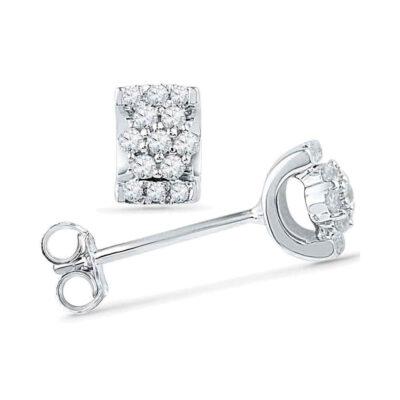 10kt White Gold Womens Round Diamond Flower Cluster Earrings 1/6 Cttw