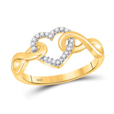 10kt Yellow Gold Womens Round Diamond Infinity Twist Heart Ring 1/10 Cttw