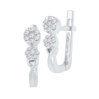 10kt White Gold Womens Round Diamond Flower Cluster Hoop Earrings 1/4 Cttw