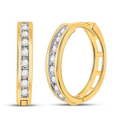 10kt Yellow Gold Womens Round Diamond Hoop Earrings 1/5 Cttw