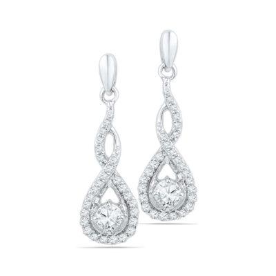 10kt White Gold Womens Round Diamond Solitaire Teardrop Frame Dangle Earrings 1/2 Cttw