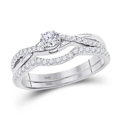 10k White Gold Round Diamond Bridal Wedding Ring Band Set 1/3 Cttw