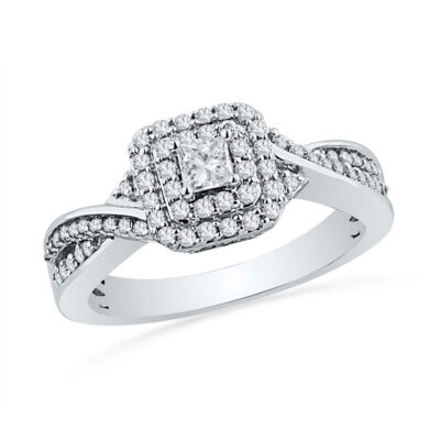 10kt White Gold Princess Diamond Solitaire Bridal Wedding Engagement Ring 1/2 Cttw