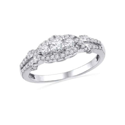 10kt White Gold Round Diamond 3-stone Bridal Wedding Engagement Ring 1/2 Cttw
