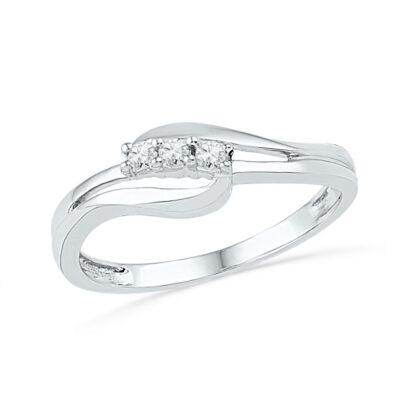 10kt White Gold Round Diamond 3-stone Bridal Wedding Engagement Ring 1/10 Cttw